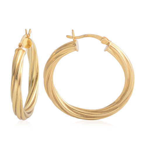 Yellow Gold Overlay Sterling Silver Hoop Earrings (with Clasp Lock), Silver wt 3.70 Gms