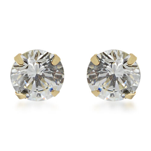 One Time Close Out Deal-  J Francis -  9K Yellow Gold Stud Earrings (with Push Back) Made with SWARO