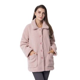 New Season Designer Inspired Teddy Faux Fur Coat in Dusky Pink