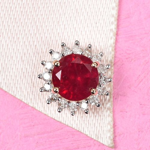 9K Y Gold African Ruby and Diamond Halo Pendant 1.40 Ct.