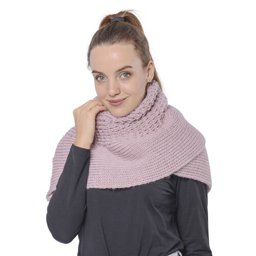 Solid Dusty Pink Infinity Knit Scarf (Size 32x70cm)