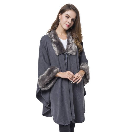Designer Inspired - Grey Faux Fur Cape (Free Size)