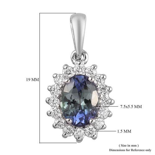 RHAPSODY 950 Platinum AAAA Peacock Tanzanite and Diamond Pendant 1.40 Ct.
