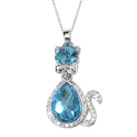 Simulated Blue Topaz and White Austrian Crystal Cat Pendant With Chain (Size 20 with 2 inch Extender