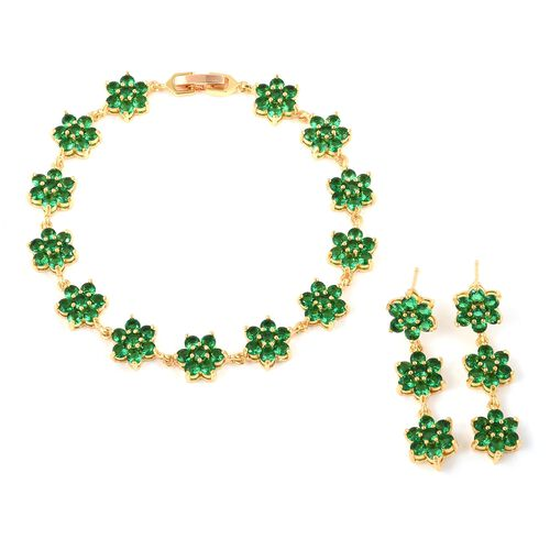 2pcs Set - Simulated Emerald (Rnd) Floral Bracelet (Size 7.50) and Earrings in Yellow Gold Plated