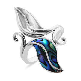 One Time Deal- Royal Bali Collection Abalone Shell Leaf Ring in Sterling Silver