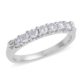 0.50 Carat Diamond 7 Stone Ring in 14K White Gold 2.6 Grams