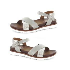 Ella Steph Strappy Cushioned Sandals in Silver Colour