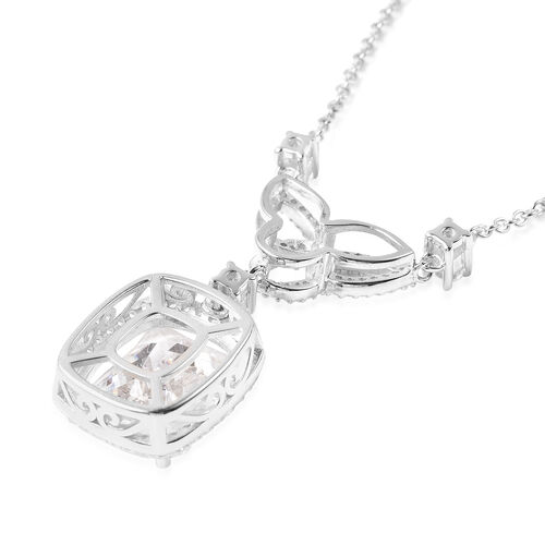 ELANZA Simulated Diamond Necklace (Size 18) in Platinum Overlay Sterling Silver 15.34 Ct, Silver wt 8.00 Gms