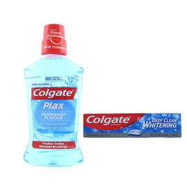 2 Piece Set - Colgate Plax Mouthwash - 500 ml and Colgate Deep Clean Whitening Toothpaste - 100ml