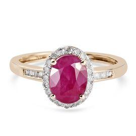 9K Yellow Gold  AA Burmese Ruby and Diamond Ring 1.81 Ct.