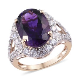 7.75 Ct AAAA Amethyst and Cambodian Zircon Halo Ring in 9K Gold 3.77 Grams