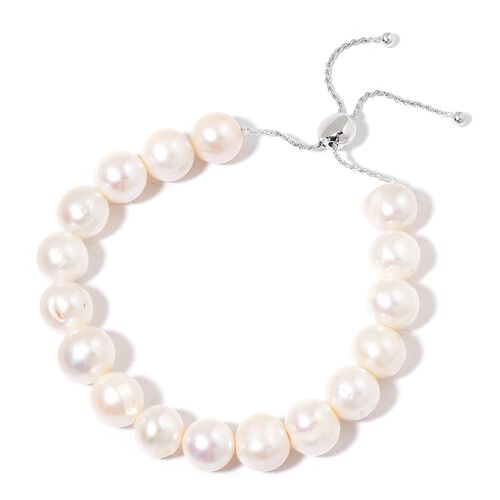 AAA Fresh Water White Pearl Size 11-12 mm Adjustable Bracelet (Size 6.5 to 9) in Rhodium Plated Sterling Silver