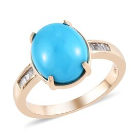 3.15 Ct Arizona Sleeping Beauty Turquoise and Diamond Solitaire Design Ring in 9K Gold 2.50 Grams