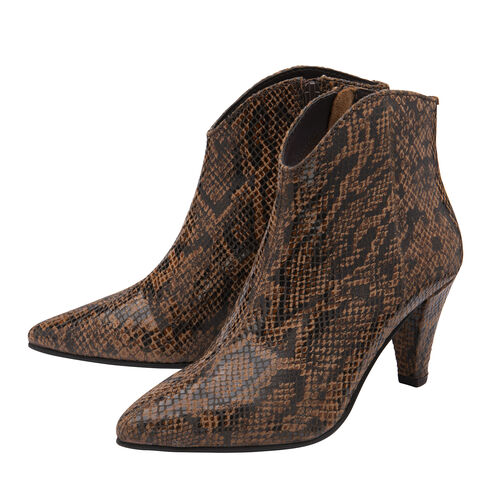 Ravel Levisa Snake Pattern Leather Heeled Ankle Boots (Size 4) - Brown