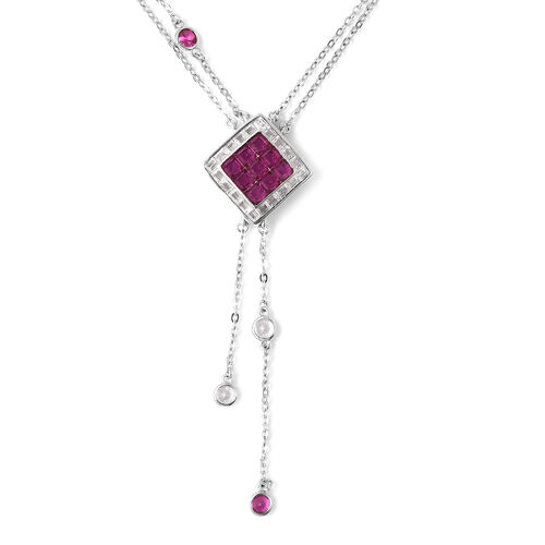Lustro Stella - Mystery Setting Simulated Diamond and Simulated Ruby Lariat Necklace (Size 18) in Rh