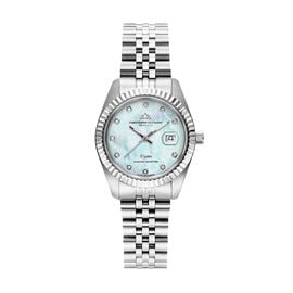 CHRISTOPHE DUCHAMP Elysees Swiss Movement Watch With Diamonds in Stainless Steel Silver Strap