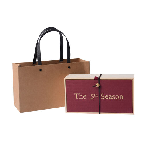 The 5th Season Scented Candle with Artificial Flowers in Wooden Gift Box - Red