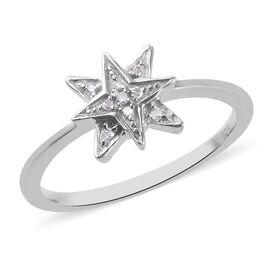 Diamond Starburst Ring in Platinum Overlay Sterling Silver 0.05 Ct.