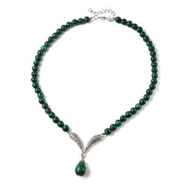Malachite and White Austrian Crystal Necklace (Size 20 with 2 inch Extender) in Silver Tone 192.00 C