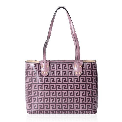 Close Out Deal  Purple Colour Greek Key Embossed Large Tote Bag (Size 35x27.5x13.5 Cm)