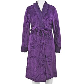 Super Soft Bathrobe with Lace on Collar and Cuff (Size 65x120 Cm) - Purple