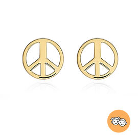 9K Yellow Gold Peace Sign Stud Earrings (with Push Back)