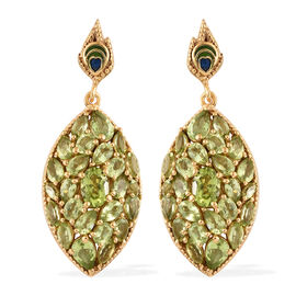 AA Hebei Peridot (Pear and Mrq) Cluster Earrings (with Push Back) in 14K Gold Overlay with ENAMELED Sterling Silver 11.500 Ct, Silver wt 12.20 Gms
