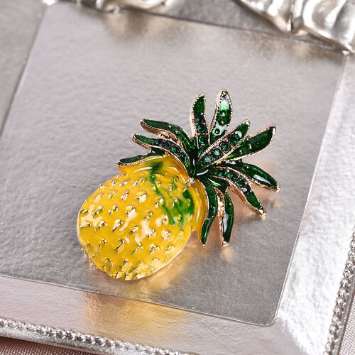 Green Austrian Crystal Enamelled Pineapple Brooch in Gold Tone