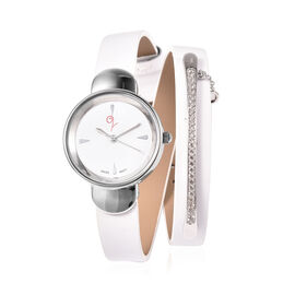 LUCYQ Swiss Movement White Dial 3ATM Water Resistant Watch with 3 Row White Leather Strap and Natura