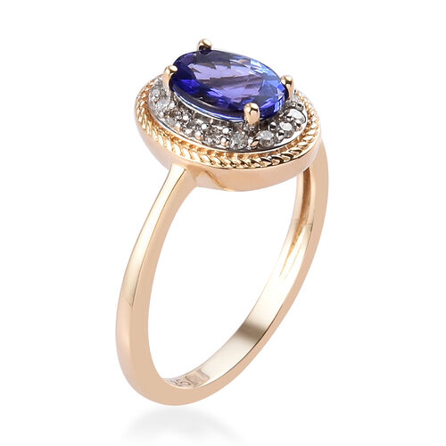 9K Yellow Gold AAA Premium Tanzanite and Diamond Ring 1.00 Ct.