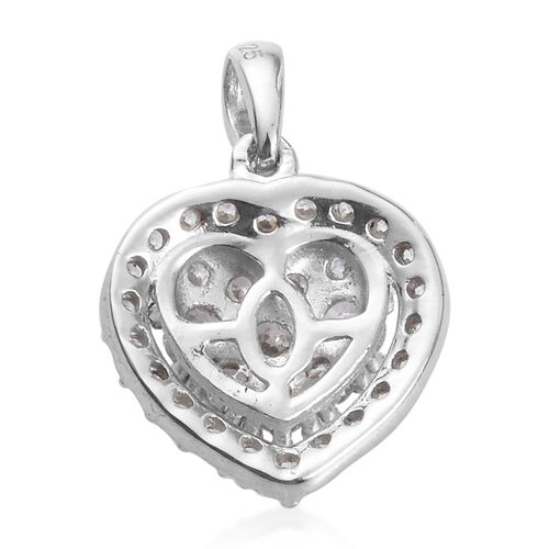 J Francis Platinum Overlay Sterling Silver Heart Pendant Made with SWAROVSKI ZIRCONIA 1.50 Ct.