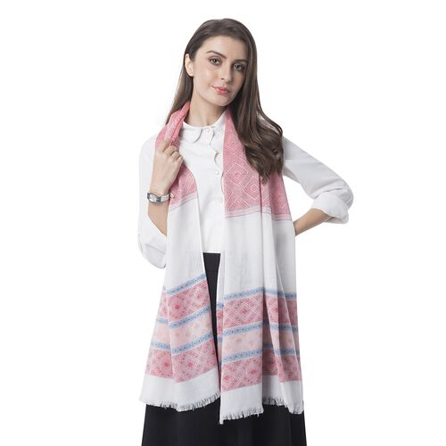 Red, White and Multi Colour Strip and Rhombus Pattern Scarf (Size 182x68 Cm)