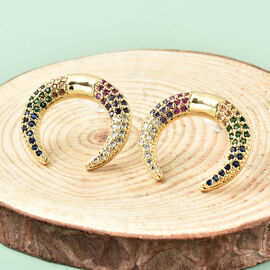 Simulated Multi Gemstone Crescent Moon Earrings (with Push Back) in Yellow Gold Tone