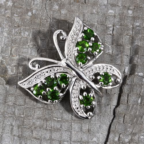 Designer Inspired - Russian Diopside (Rnd), Natural Cambodian Zircon Butterfly Pendant in Platinum Overlay Sterling Silver 1.350 Ct.