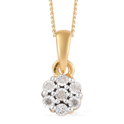 Diamond 14K Gold Overlay 14K Gold Overlay Sterling Silver 3 Pcs Ring, Earring and Pendant With Chain Set  0.150  Ct.