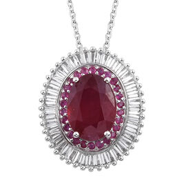 11.25 Ct African and Burmese Ruby, White Topaz Pendant with Chain in Platinum Plated Sterling Silver