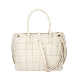 Quilted Pattern Satchel Bag with Detachable Shoulder Strap and Zipper Closure (Size 32x14x26 Cm) - W