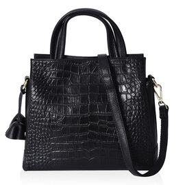 100% Genuine Leather Croc Embossed Tote Bag with Detachable Shoulder Strap (Size 28x25x11 Cm) - Blac