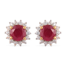 Luxury Collection- African Ruby and Natural White Zircon Earrings (with Push Back) in 14K Gold Overl