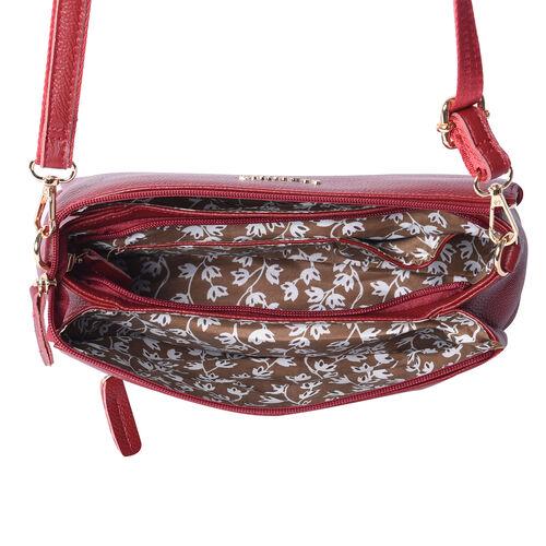 SENCILLEZ 100% Genuine Leather Crossbody Bag with Adjustable Shoulder Strap and Zipper Closure (Size 28x9x17cm) - Burgundy