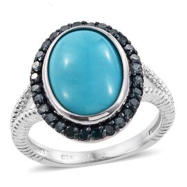 Arizona Sleeping Beauty Turquoise (Ovl 4.75 Ct), Blue Diamond Ring in Platinum Overlay Sterling Silv