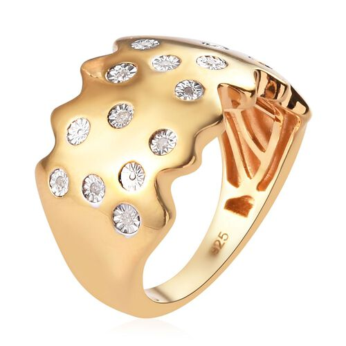 Diamond Ring in 14K Gold Overlay Sterling Silver, Silver wt 5.70 Gms