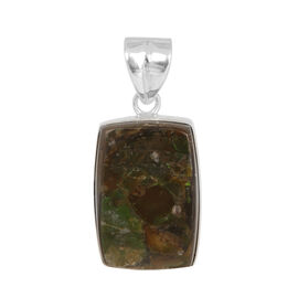 Jewels of India Ammolite (Cush) Solitaire Pendant in Sterling Silver 21.000 Ct.
