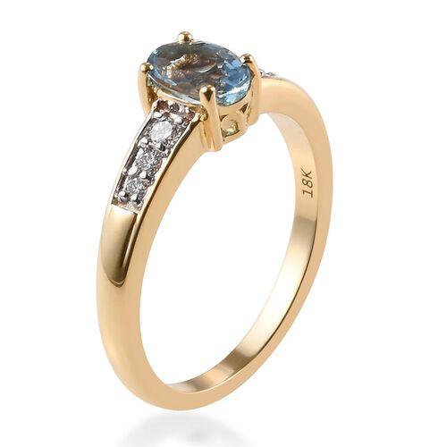 ILIANA 18K Yellow Gold AAA Santa Maria Aquamarine (Ovl 7x5mm), Diamond (SI/G-H) Ring 0.80 Ct.