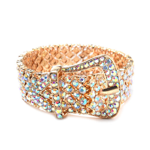 Simulated Mystic White Crystal Stretchable Buckle Bracelet in Gold Tone 6.5 to 8 Inch
