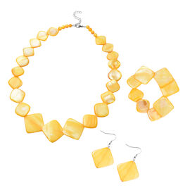 3 Piece Set - Gold Shell Necklace (Size 18 with 2 inch Extender), Stretchable Bracelet (Size 7) and