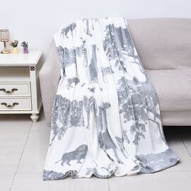Soft Flannel Blanket with Animal Print (Size 150x200 Cm) - Cream