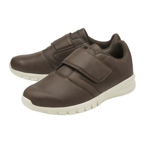 Gola Oscar Wide Fit Quick Fasten Trainer (Size 7) - Brown and Off White