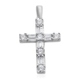 ILIANA 18K White Gold IGI Certified Diamond (Rnd and Bgt) (SI /G-H) Latin Cross Pendant 0.500 Ct.